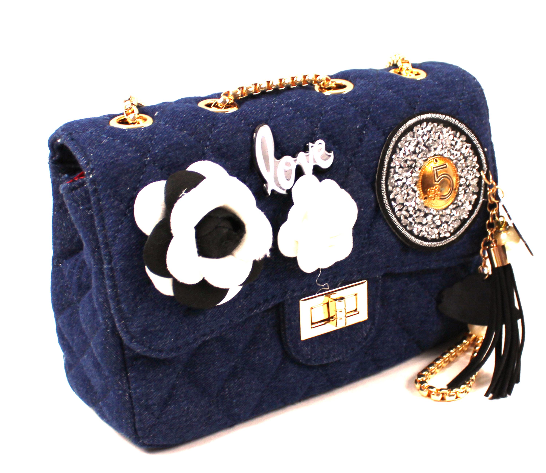 a0e10312f5629 Dunkelblaue Tasche mit Aufdruck  Apricot Cosmetic Shop